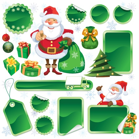Collection of green stickers and Christmas design elements Stock Vector - 16230431