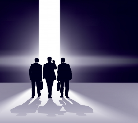 Business team walking forward through bright gap. Illustration