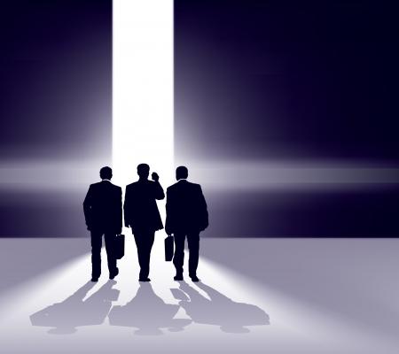 Business team walking forward through bright gap. Vectores