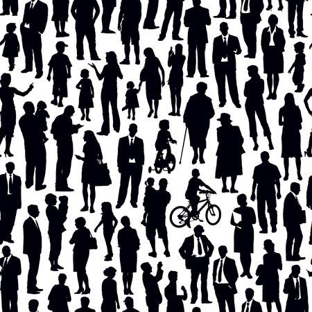 Pattern - crowd of people walking on a street. Illustration