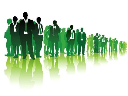 흰색 배경 위에 서 녹색 사람들의 큰 그룹입니다.