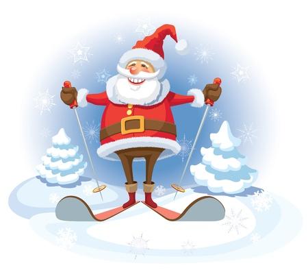 웃는 산타 클로스 스키, 하얀 겨울 배경.