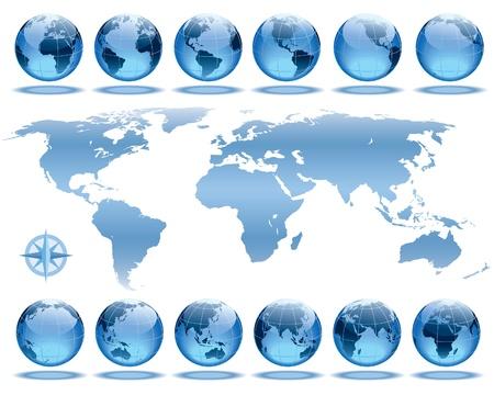 매 2 시간 동안의 지구 회전을 보여주는 12 글로브의 집합