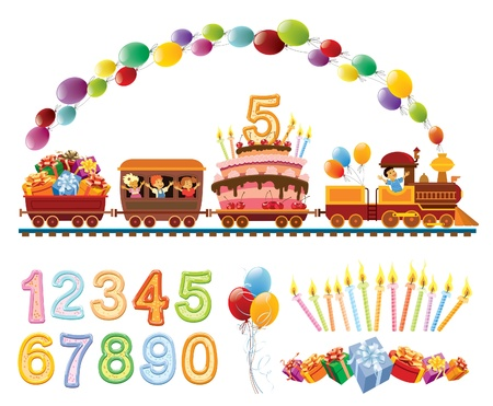 Happy children in a toy train with balloons, birthday cake and gifts.