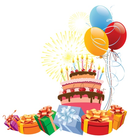 Colorful birthday cake with balloons and gifts.