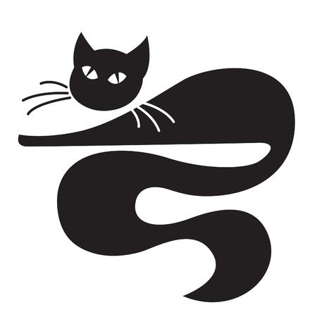 흰색 배경 위에 누워 검은 고양이