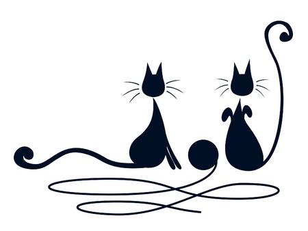 흰색 배경 위에 울 타래와 함께 연주 두 개의 검은 고양이