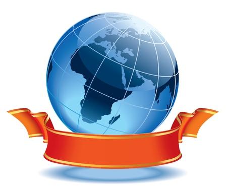 Globe met lege rode banner, aarde met continenten Europa en Afrika.