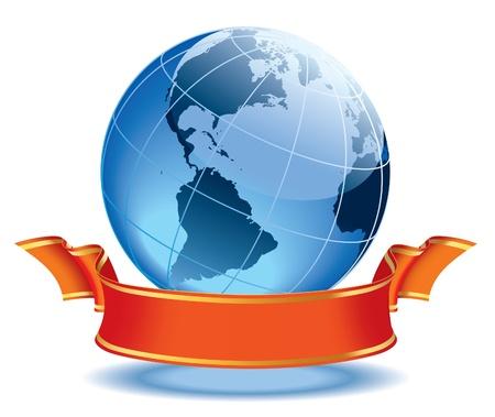 Globe met lege rode banner, aarde met Amerikaanse continenten. Stock Illustratie