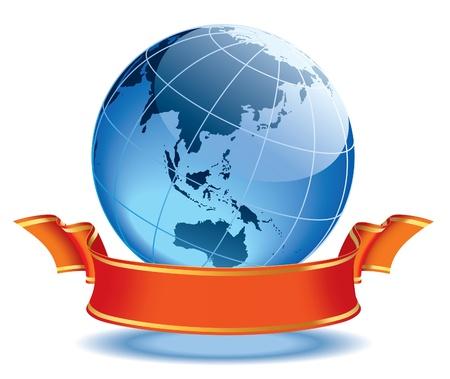 Globe met lege rode banner, aarde met Australië en Azië.