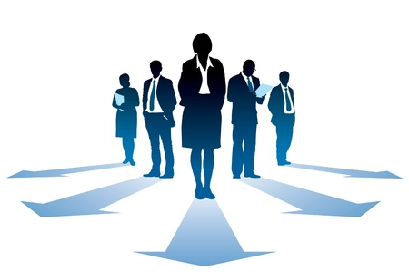 Five silhouettes of successful businesseople, everyone has own direction. Vectores