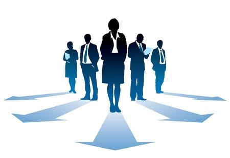Vijf silhouetten van succesvolle businesseople, iedereen heeft een eigen richting. Stock Illustratie