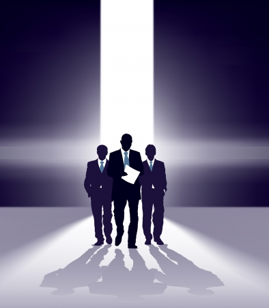 Group of successful businessmen comes through bright gap Stock Vector - 17112670