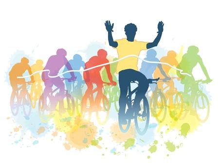 자전거 레이스에서 사이클의 그룹입니다. 스포츠 일러스트 레이 션.