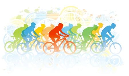 Groep van fietser in de wielerwedstrijd. Sport illustratie