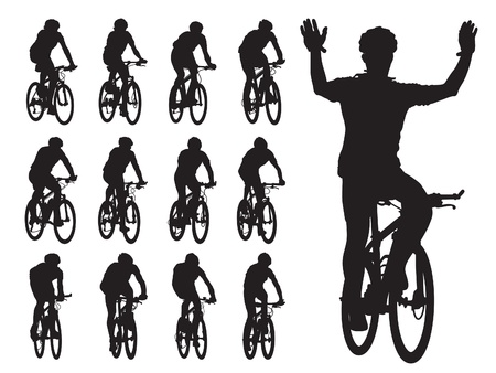 Set of cyclist's silhouettes in the bicycle race. Sport illustration. Vettoriali
