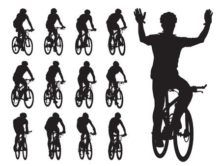 Set van silhouetten fietser in de wielerwedstrijd. Sport illustratie.