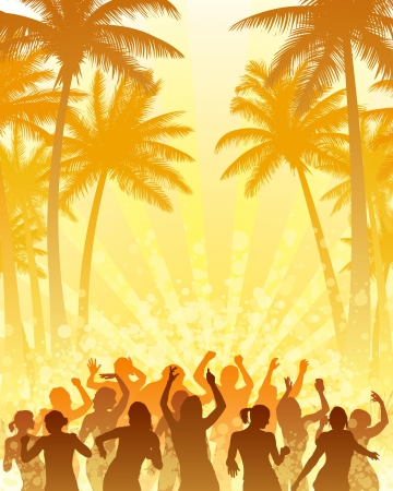 Coconut palm trees and people dancing with the sun.