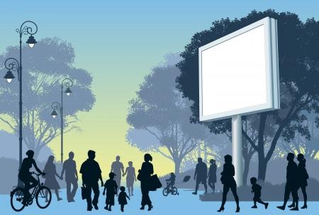 거리에서 한 공원에서 산책하는 사람의 군중.