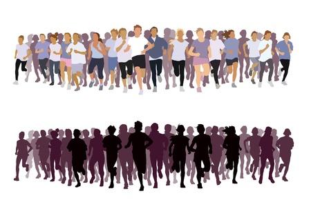 Menigte van jonge mensen draait. Sport illustratie.