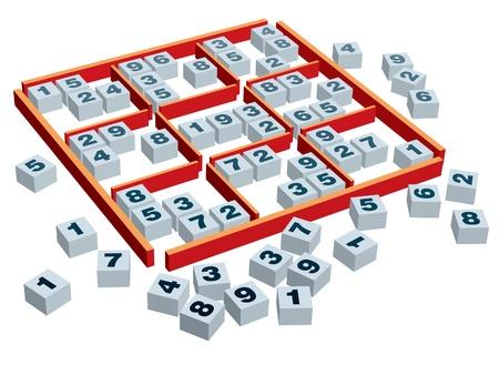 다양한 위치의 숫자와 3 차원 스도쿠 게임 보드 및 포장.