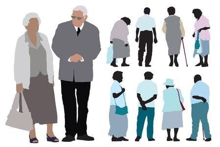 Een set van ouderen silhouetten op witte achtergrond. Stock Illustratie