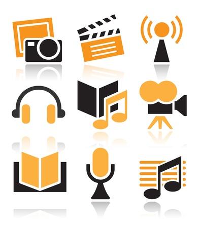 Entertainment icon set over white background