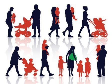 Een set van silhouetten, ouders en kinderen op een wandeling.