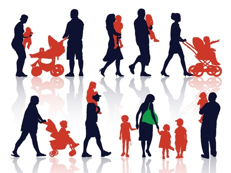 A set of silhouettes, parents and children on a walk. Illustration