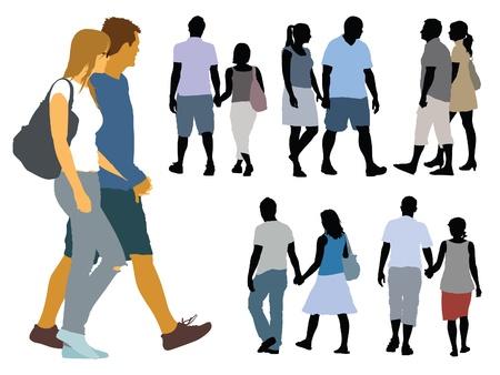 Een set van silhouetten, jongeren op een wandeling.