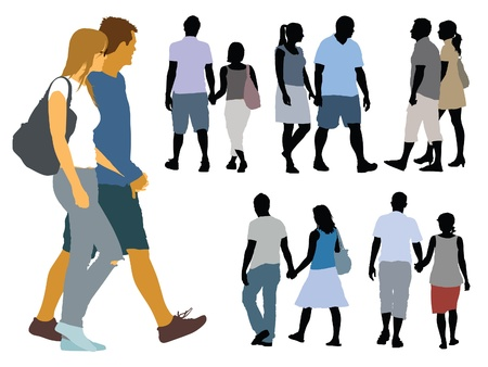 A set of silhouettes, young people on a walk.