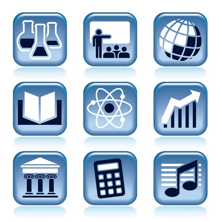 Set of blue icons, school subjects over black background Illustration
