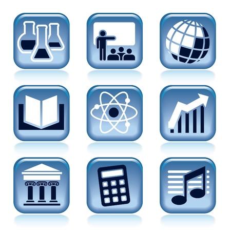 Set van blauwe pictogrammen, schoolvakken over zwarte achtergrond