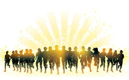 Menigte van jonge mensen lopen. Afbeelding van de sport. Stock Illustratie