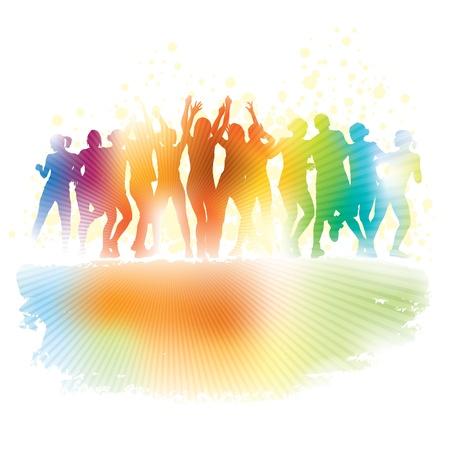 Grote groep van jonge mensen dansen in een club.