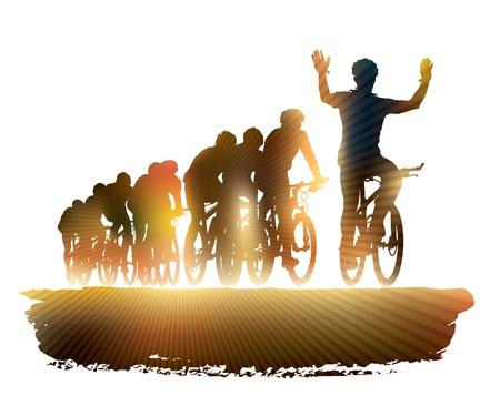 Groep van fietser in de wielerwedstrijd. Sport illustratie. Stock Illustratie