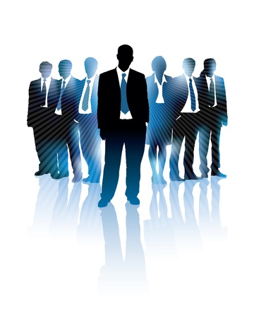 Businessman is standing in front of a group of people