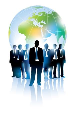 Businesspeople staan voor grote wereldkaart.