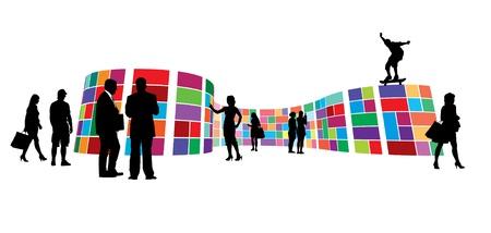 Tentoonstellingsruimte. Mensen een bezoek aan kleurrijke expositieruimte, galerie muur metro stijl. Stock Illustratie