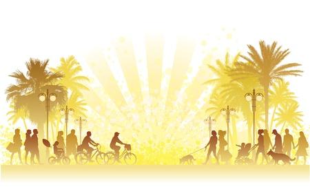 Hete zomerdag, mensen lopen op een straat. Stock Illustratie