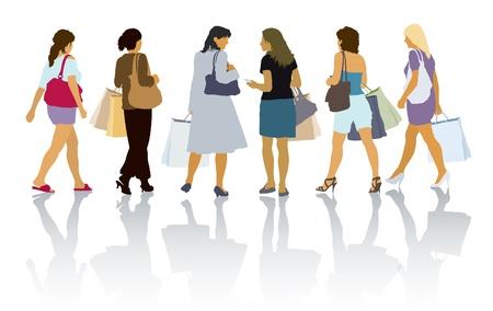 Een reeks van kleurrijke silhouetten van winkelende mensen Stock Illustratie
