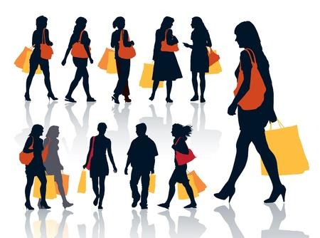 Collectie van mooie silhouetten van winkelende mensen