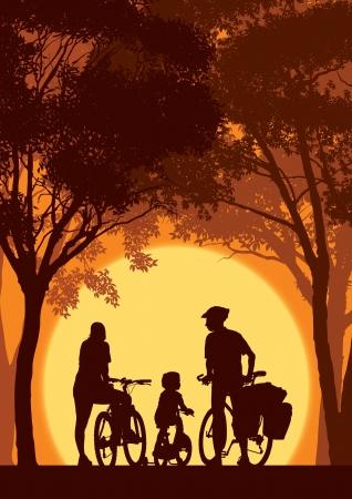 여름 여행에 부모와 자식 사이클링.