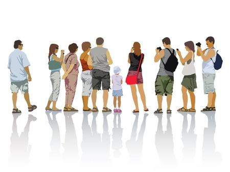 人々のシルエットのセット。旅行中の観光客。