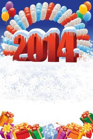 Nieuwjaar 2014 op witte winter achtergrond met ballonnen en cadeaus