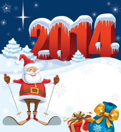 Nieuwjaar en skiën santa met geschenken, kerst decoratie klaar voor uw bericht