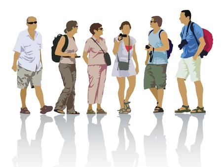 ツアーグループ、旅行中の観光客。人々のシルエットのセット。