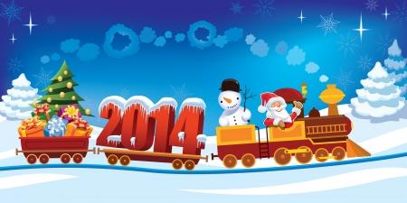 Nieuw Jaar 2014 en de Kerstman in een speelgoed trein met giften, de snowman en de kerst boom. Stock Illustratie