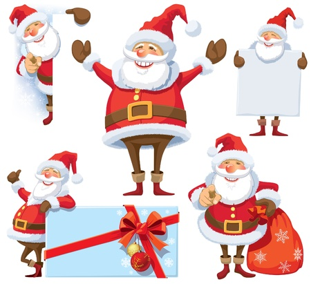 Santa Claus posing in several poses with gifts, bag and posters.