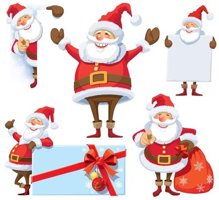 Kerstman poseren in verschillende poses met geschenken, tas en posters.